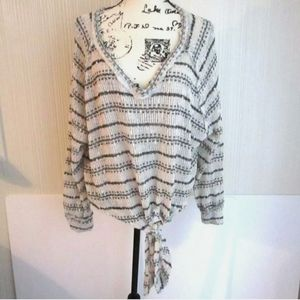 Altar'd State Striped Open Knit Sweater Size Small